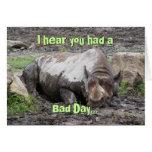 Tarjeta de felicitación del rinoceronte que se enf