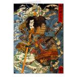 Tarjeta de felicitación del samurai de Kuniyoshi