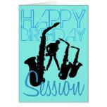 Tarjeta de felicitación del saxofón del jazz de la