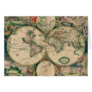 Tarjeta de felicitación del siglo XVII del mapa de