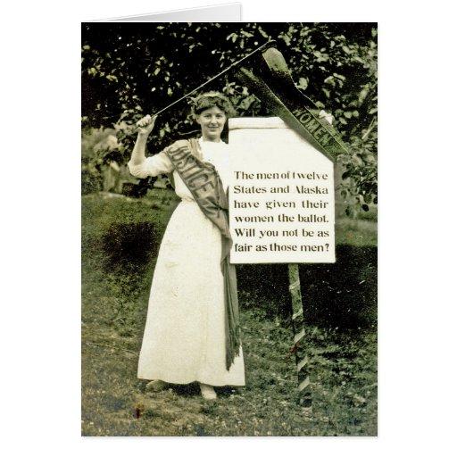 Tarjeta de felicitación del Suffragette del vintag