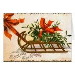 Tarjeta de felicitación del trineo del navidad del
