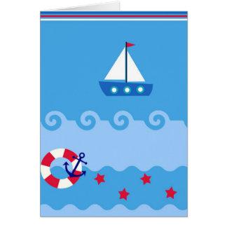 Tarjeta de felicitación del velero del mar con el