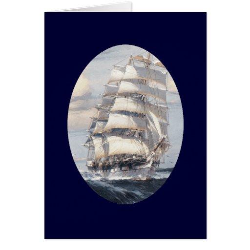 Tarjeta de felicitación del velero del vintage