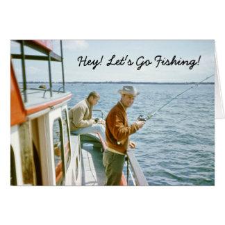 Tarjeta de felicitación del viaje de pesca