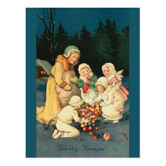 Tarjeta de felicitación del vintage de Gelukkig N Postales