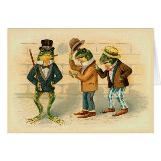 """Tarjeta de felicitación del vintage de """"tres ranas"""