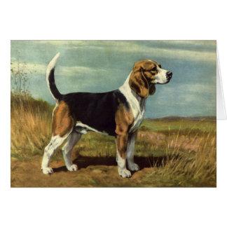 Tarjeta de felicitación del vintage del beagle