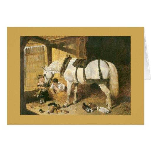 Tarjeta de felicitación del vintage del caballo