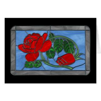 Tarjeta de felicitación del vitral de los rosas ro