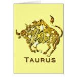 Tarjeta de felicitación del zodiaco del tauro