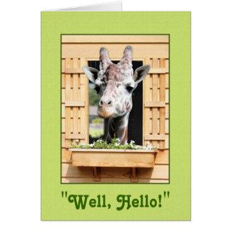 Tarjeta de felicitación divertida de la jirafa del