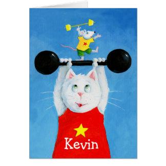Tarjeta de felicitación divertida del gato y del r