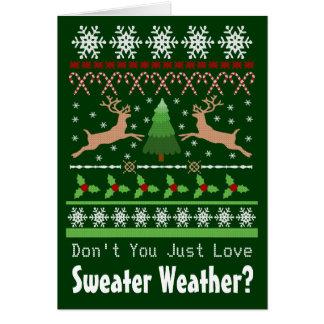 Tarjeta de felicitación doblada tiempo del suéter