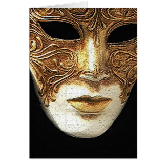 Tarjeta de felicitación dorada de la máscara