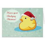 Tarjeta de felicitación ducky de goma amarilla de