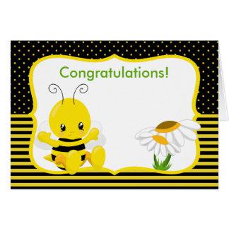 Tarjeta de felicitación dulce de la abeja del bebé