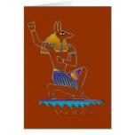 Tarjeta de felicitación egipcia de dios de ANUBIS
