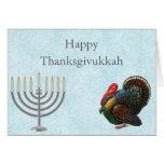 Tarjeta de felicitación elegante de Thanksgivukkah