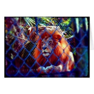 Tarjeta de felicitación en blanco con el león