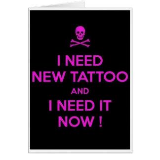 Tarjeta de felicitación en blanco del tatuaje