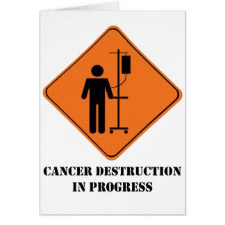 Tarjeta de felicitación en curso de la destrucción
