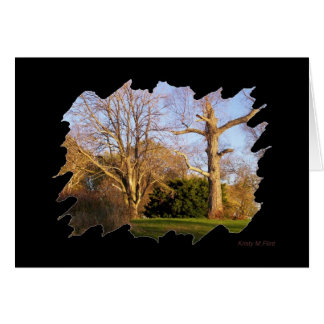 tarjeta de felicitación enmarcada de los árboles