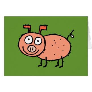 Tarjeta de felicitación enrrollada del cerdo de la
