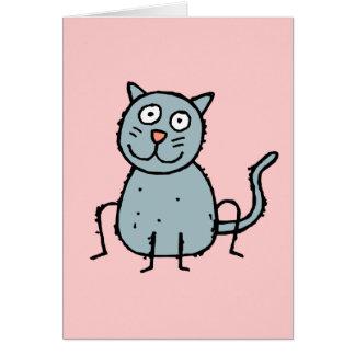 Tarjeta de felicitación enrrollada del gato de la