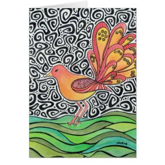 Tarjeta de felicitación enrrollada del pájaro