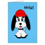 Tarjeta de felicitación española del perrito de Ku