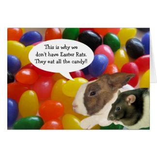 Tarjeta de felicitación feliz de la rata de Pascua