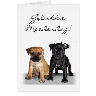 Tarjeta de felicitación feliz de los perritos de S