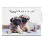 Tarjeta de felicitación feliz de los perritos del