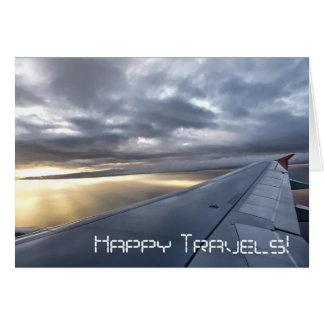Tarjeta de felicitación feliz de los viajes