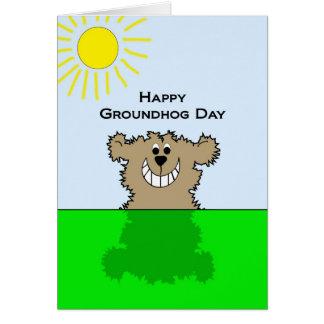 Tarjeta de felicitación feliz del día de la marmot