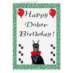 Tarjeta de felicitación feliz del Dober-Cumpleaños