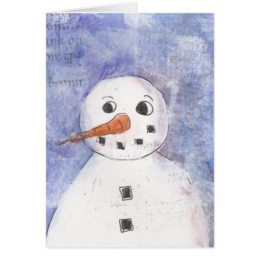 Tarjeta de felicitación feliz del muñeco de nieve