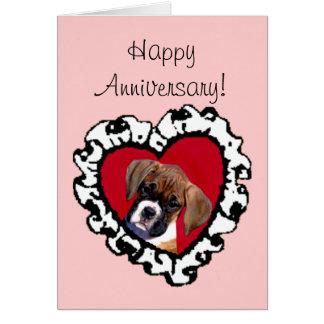 Tarjeta de felicitación feliz del perrito del boxe