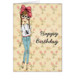 Tarjeta de felicitación femenina del cumpleaños de