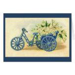 Tarjeta de felicitación floral azul del triciclo d