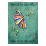 Tarjeta de felicitación floral de la mariposa del