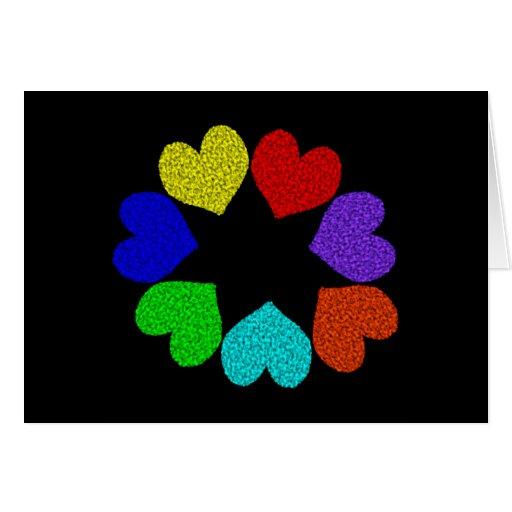 Tarjeta de felicitación floral de los corazones de