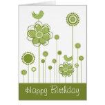 Tarjeta de felicitación floral del feliz cumpleaño