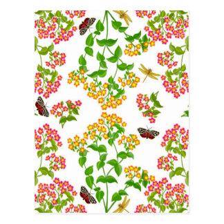 Tarjeta de felicitación floral del verano del país tarjetas postales