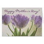 Tarjeta de felicitación floral para los tulipanes