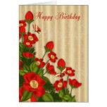 Tarjeta de felicitación floral roja del cumpleaños
