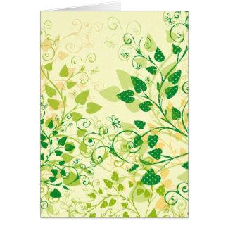 Tarjeta de felicitación floral verde de la primave