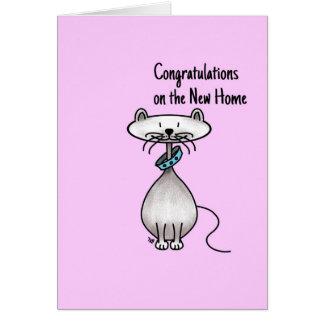 Tarjeta de felicitación - gato - nuevo hogar de la