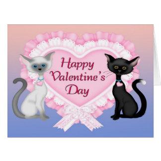 Tarjeta de felicitación grande de los gatos del el